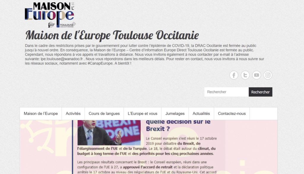 site accueil cours langue maison europe